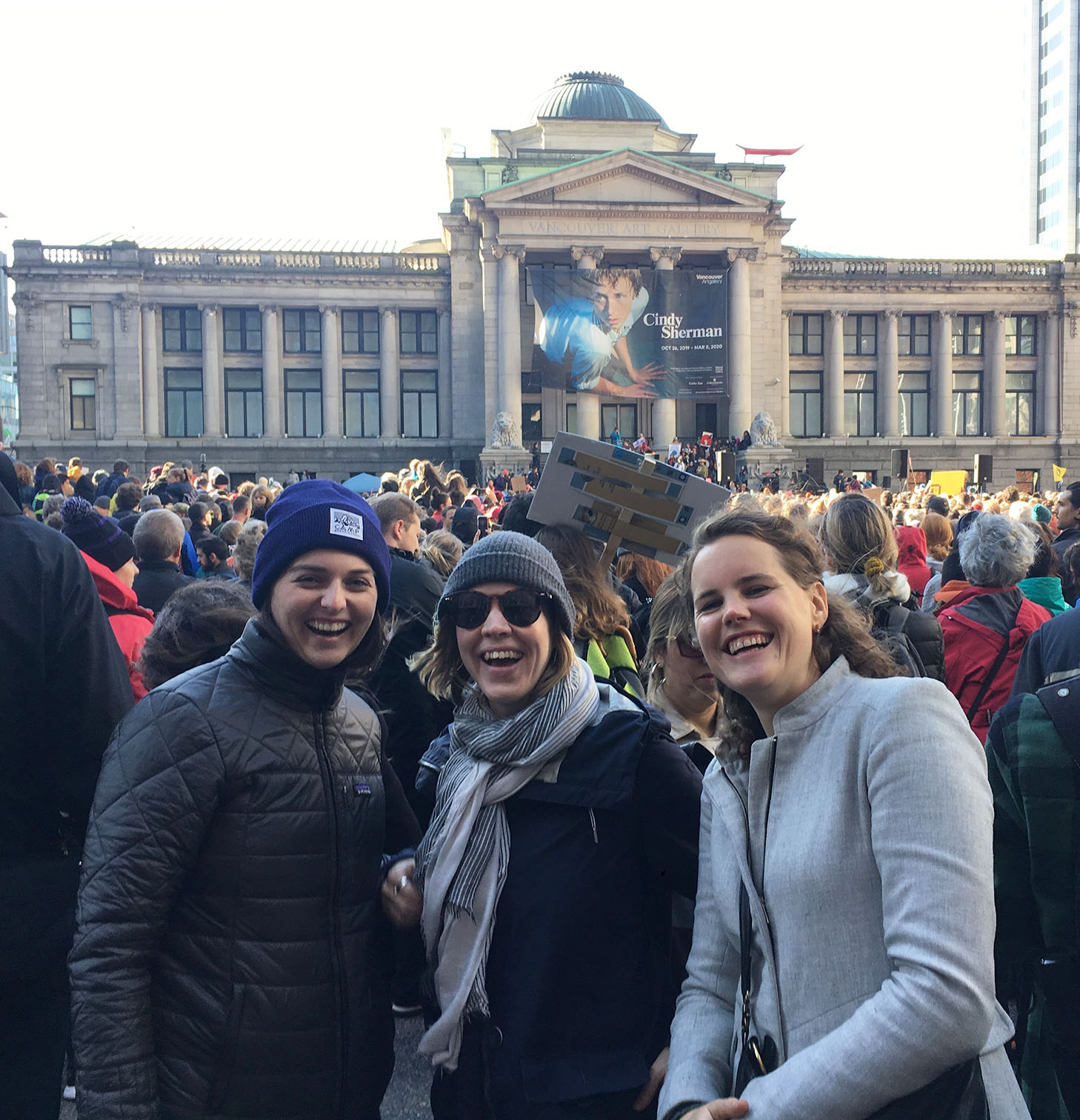 Strategic Grantmaking Coordinator Bridgitte Taylor, Senior Program Associate Shayla Walker, and Project Specialist Bruce Berghmans at the October 25 march for climate in Vancouver.
