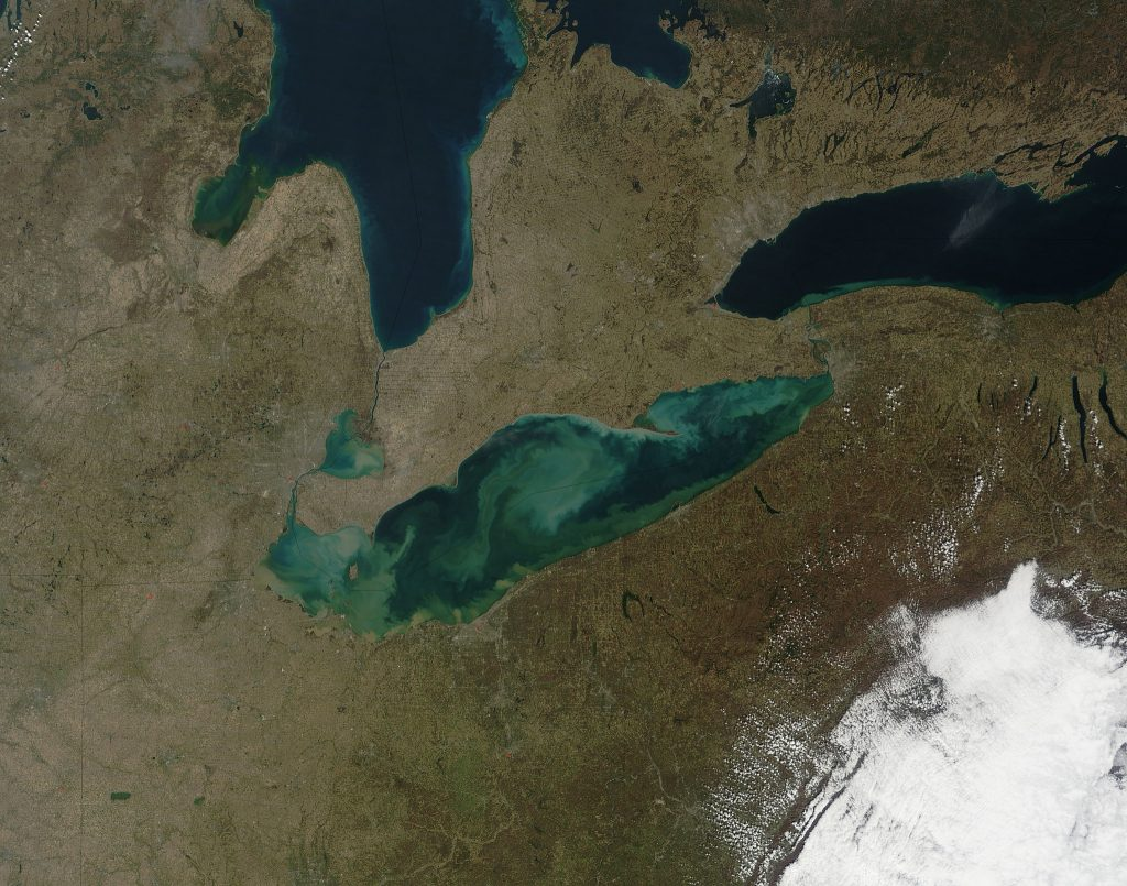 View of Lake Erie from space in spring 2012. Photo: NASA/GSFC/Jeff Schmaltz/MODIS Land Rapid Response Team.
