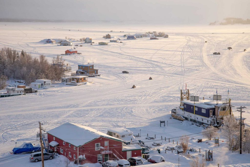 A photo of Yellowknife in the winter