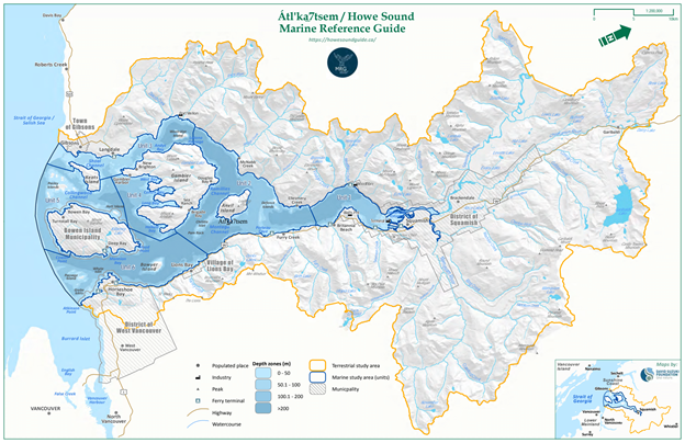 A map of the Howe Sound region and project study area.