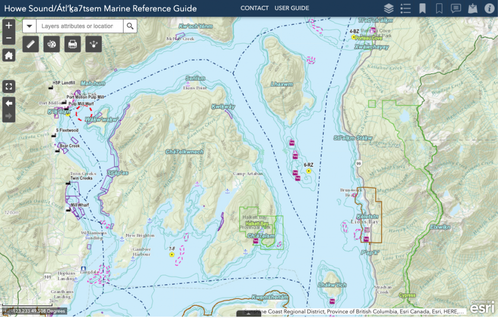 A screen capture of the interactive Marine Reference Guide map.